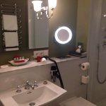Bathroom with electrical outlets! And Molton Brown toiletries