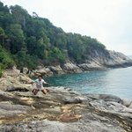 Clear blue water and sea view from the cliff at Batu Kucing