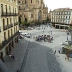 View of Plaza Mayor from hotel balcony