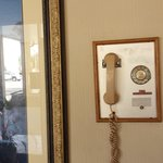 A classic working rotorary phone in the lobby,