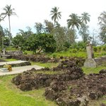 Lava stone covered graves