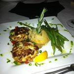 Crab Cakes with Green Beans and Au Gratin potatos