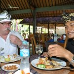 having lunch with the manager I Wayan Ariadi