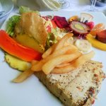 Barramundi meal with exotic fruits