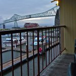 Private balcony overlooking bridge and marina
