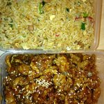 takeaway special fried rice and crispy pork w/honey chilli sauce