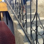 Dirty railings covered with concrete dust