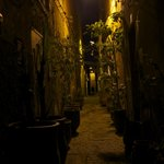 the alley outside the riad at night.