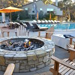 Main pool and fire pit (with s'mores ingredients)