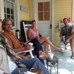 Lighthouse Inn porch with new friends