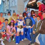 The gang, dressed as wrestlers outside of the wonderful Chelsea hotel