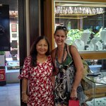 Juliette and I with a beautiful strand of Tahitian Pearls on