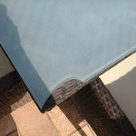 broken (very sharp) glass table by pool May 2014