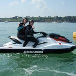 Me and my partner on the jet ski