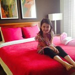 Getting ready to head to the American Girl Store.  Loving the pink bed and doll bed.