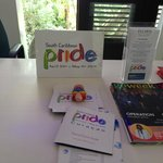 Pride fliers in the lobby.