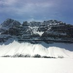 Frozen over, the amazing Bow Lake in May, also on the Icefields Parkway