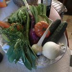 Basket of vegetables waiting for us on arrival