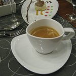 Coffee and dessert at french restaurant