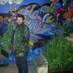 Me in front of the beautiful mural they've got going on