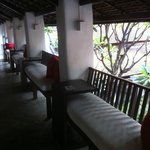 the terrace in front of Deluxe rooms and overlooking the courtyard