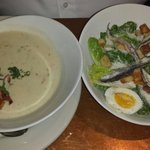 Ceasar Salad and Clam Chowder
