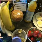 Our choice of breakfast, delivered at our room