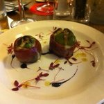 Figs wrapped in parma ham with Gorgonzola, very pretty