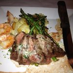 Petite filet with shrimp asparagus and calabrese potatoes