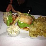 Lobster BLT with chips and coleslaw