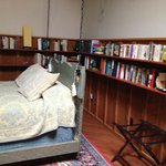 hanging bed with bookshelves
