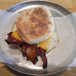 Bacon, egg & cheese on English muffin