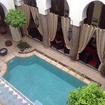 Pool and reception area of the Riad