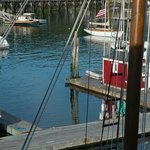 Looking right out our table window.  That's a schooner mast on the right