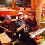 Guys behind the sushi bar are extremely talented, knowledgable, and fun.