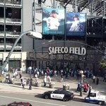 View of Safeco field left field entrance from our 3rd floor room