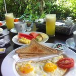 Breakfast at Sama's. Choose between different juices, style of eggs, pancakes or jaffels. The ba
