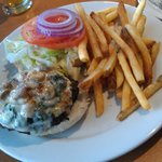 Popeye Burger w/ spinach, mushrooms, provolone & fries.