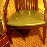 Broken chair. At least it matches the broken nightstand.