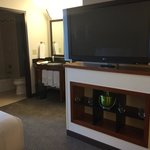 Nice 42 or 48 flat screen tv. Movie rentals $17.99. View I bathroom sink area and bathroom. Ther