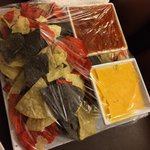 Here is the large chips and salsa and cheese dip. Ready for pick up. Made to order. It was good.