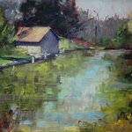 """Boathouse Impression"" painting of view near hotel"