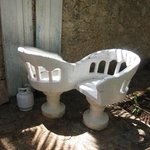 Lovers chair in the garden courtyard where Breakfast is served...