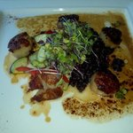 Pan seared Scallops over black thai rice, vegtable medley