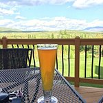 A beverage on the deck after a day of hiking.