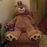 Cinnamon Bear greets you in the lobby of the Hampton Inn Knoxville North