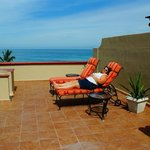 Theview of the beautiful Sea of Cortez while sunning on the rooftop
