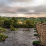 sunset over the Tyne in Corbridge