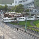 View to tram intersection at station