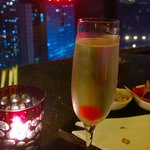 Chilled Champagne enjoying the night view of Shenzhen